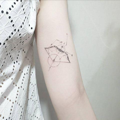 "<p>The geometric design of this <strong>Sagittarius <a href=""https://www.cosmopolitan.com/style-beauty/beauty/g32883020/wave-tattoo-ideas/"" rel=""nofollow noopener"" target=""_blank"" data-ylk=""slk:tattoo"" class=""link rapid-noclick-resp"">tattoo</a> adds dimension via circles and sharp edges,</strong> but the fine-line work still keeps it delicate.<br></p><p><a href=""https://www.instagram.com/p/CEdVlWUAWF0/"" rel=""nofollow noopener"" target=""_blank"" data-ylk=""slk:See the original post on Instagram"" class=""link rapid-noclick-resp"">See the original post on Instagram</a></p>"