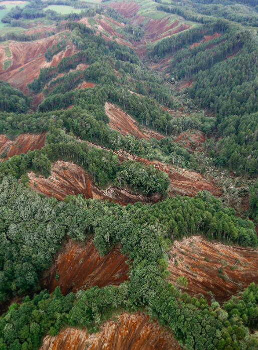 <em>This aerial photo shows thee site of landslides after an earthquake in Atsuma town, Hokkaido (AP)</em>
