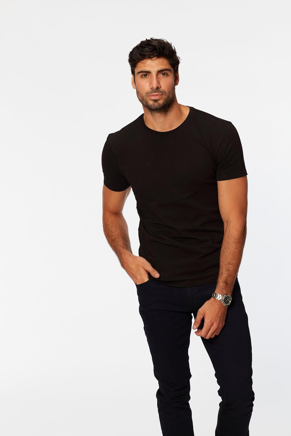 """Brandon is """"an Italian stallion in the prime of his life"""" who admits """"he wore way too much Ed Hardy back in the day."""" These should be red flags, but…those arms. His eyes. I am weak!"""