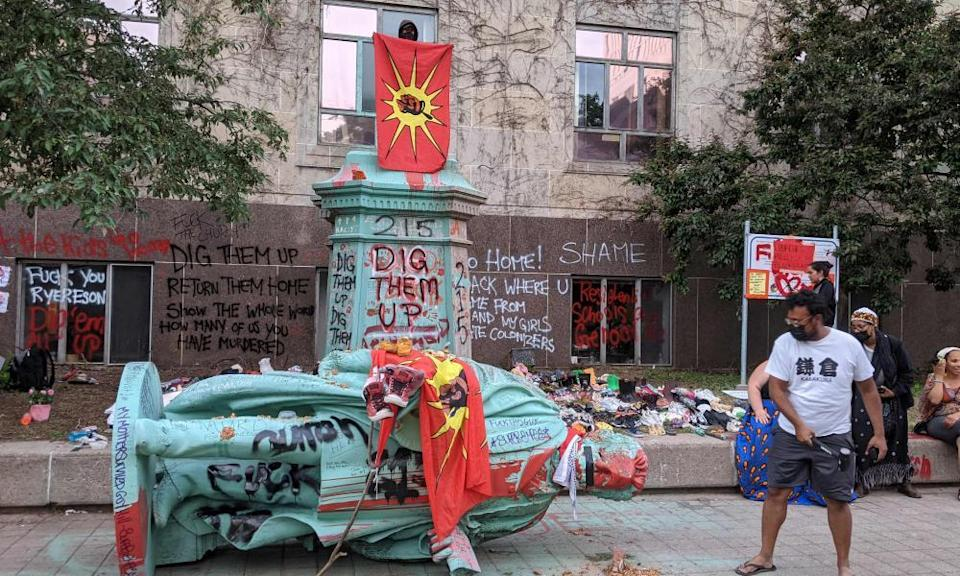 A statue of Egerton Ryerson, one of the architects of Canada's indigenous boarding school system, was felled in June following a protest on the campus of the university that bears his name in downtown Toronto.