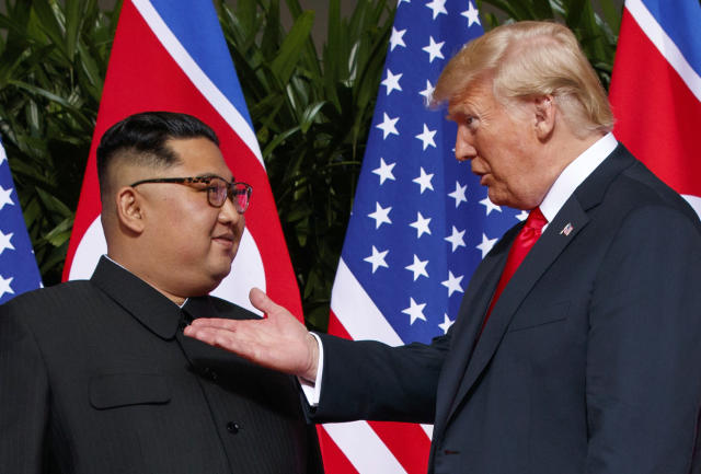 President Trump meets with North Korean leader Kim Jong Un on Sentosa Island in Singapore. (Photo: Evan Vucci/AP)