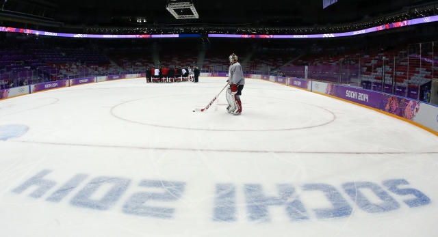 Canada goaltender Roberto Luongo skates out to the net during a training session at the Bolshoy Ice Dome at the the 2014 Winter Olympics, Tuesday, Feb. 11, 2014, in Sochi, Russia. (AP Photo/Julio Cortez)
