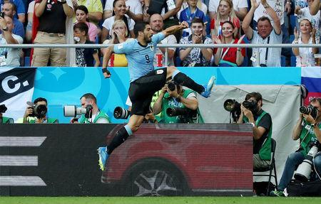 Soccer Football - World Cup - Group A - Uruguay vs Saudi Arabia - Rostov Arena, Rostov-on-Don, Russia - June 20, 2018 Uruguay's Luis Suarez celebrates scoring their first goal REUTERS/Marko Djurica