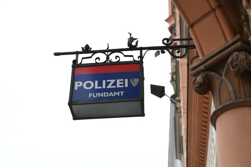 Police sign is pictured in the city hall of Braunau