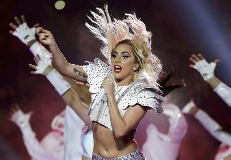 FILE - In this Feb. 5, 2017 file photo, Lady Gaga performs during the halftime show of the NFL Super Bowl 51 football game between the Atlanta Falcons and the New England Patriots in Houston. Lady Gaga will make history when she performs at the Coachella Valley Music and Arts festival this weekend, marking a decade since a solo woman has been billed as a headliner on the prestigious musical stage. (AP Photo/Matt Slocum, File)