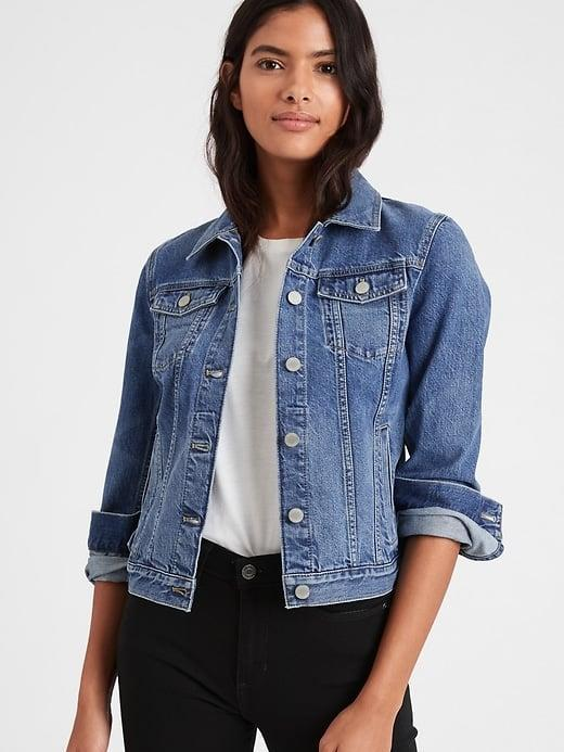 <p>Say bye to a down jacket and hi to this <span>Banana Republic Essential Jean Jacket</span> ($59-$68, originally $99) instead. </p>