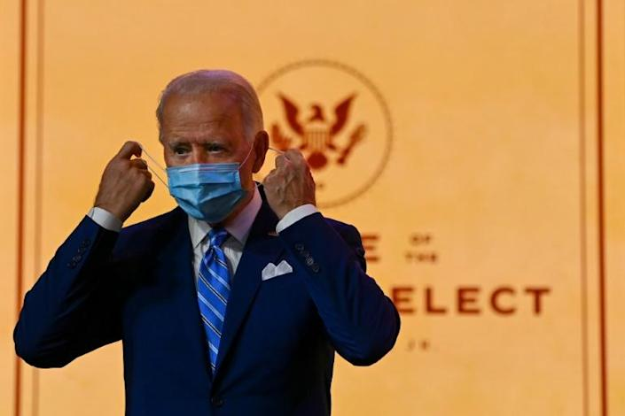 US President-elect Joe Biden arrives to deliver a Thanksgiving address at the Queen Theatre in Wilmington, Delaware, on November 25, 2020, where he tried to rally Americans weary of the Covid-19 pandemic