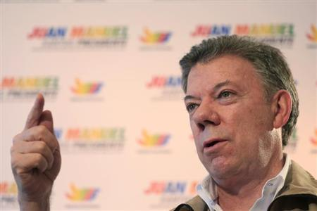Colombia's President Santos speaks during a Reuters interview in Villavicencio