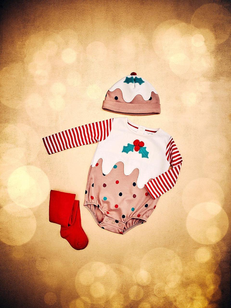 Baby GOTS Organic Cotton Christmas Pudding Romper and Hat Set (Photo: John Lewis)