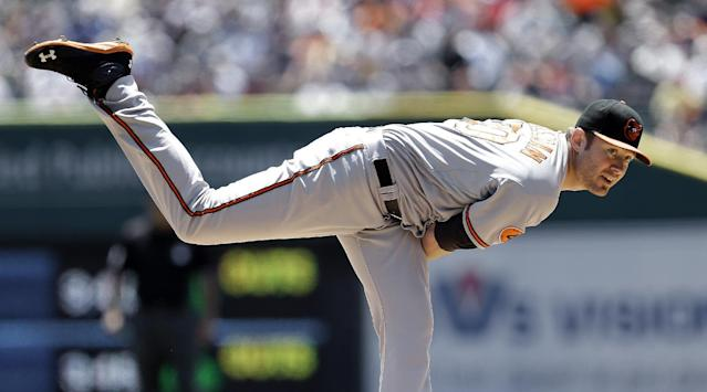Baltimore Orioles pitcher Chris Tillman throws against the Detroit Tigers in the first inning of a baseball game in Detroit, Wednesday, June 19, 2013. (AP Photo/Paul Sancya)