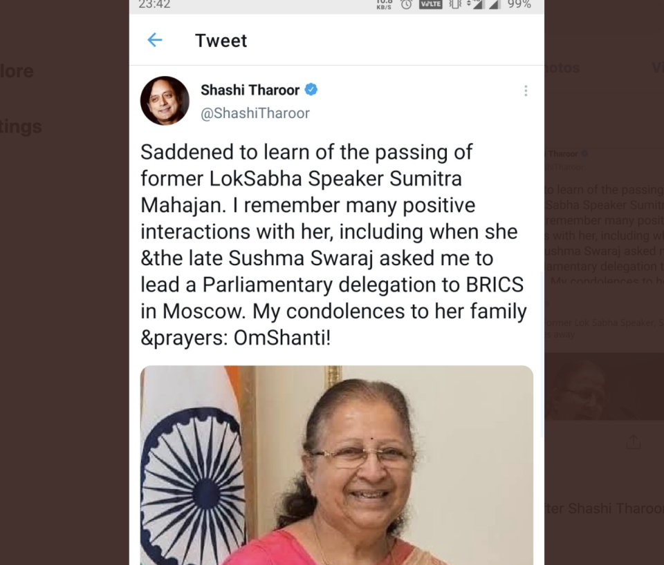Shashi Tharoor wrongly tweets about Sumitra Mahajan's death