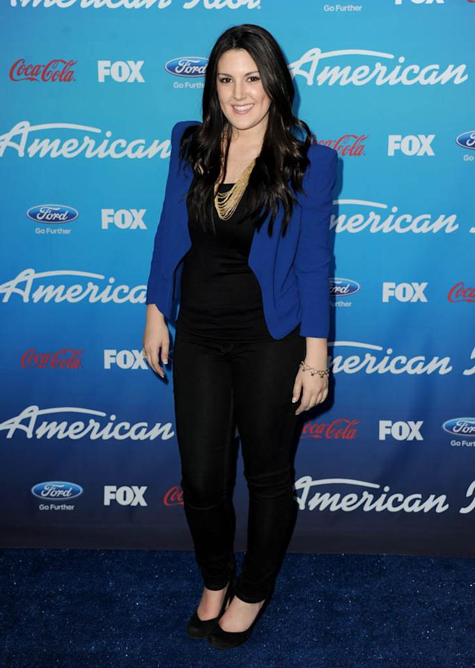 "Kree Harrison attends the FOX ""American Idol"" finalists party at The Grove on March 7, 2013 in Los Angeles, California."