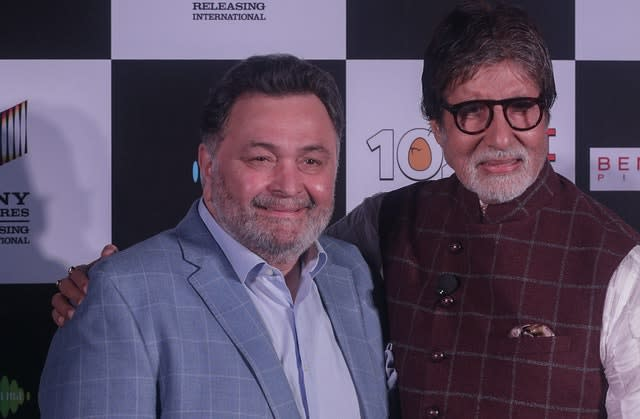 Rishi Kapoor, left, with Amitabh Bachchan