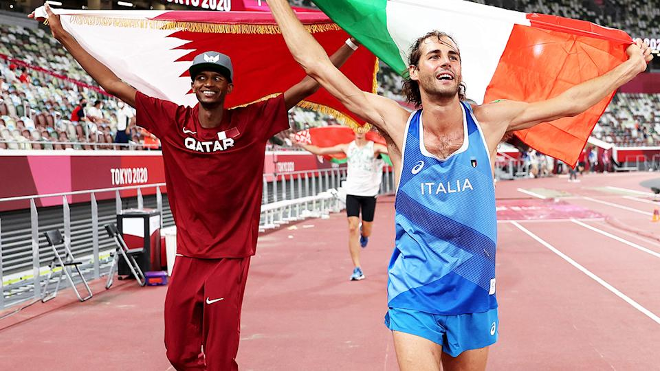 Mutaz Essa Barshim and Gianmarco Tamberi, pictured here celebrating their gold medal.