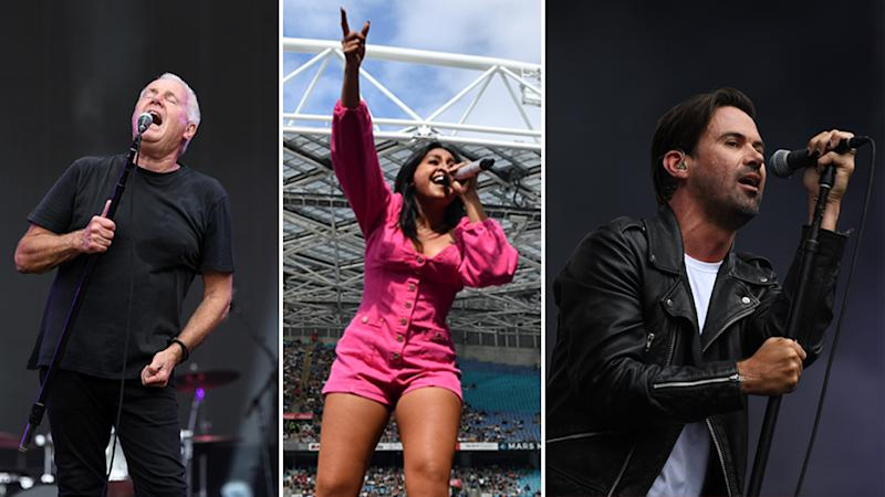 Australian performers Daryl Braithwaite, Jessica Mauboy and Grinspoon at the Fire Fight Australia concert