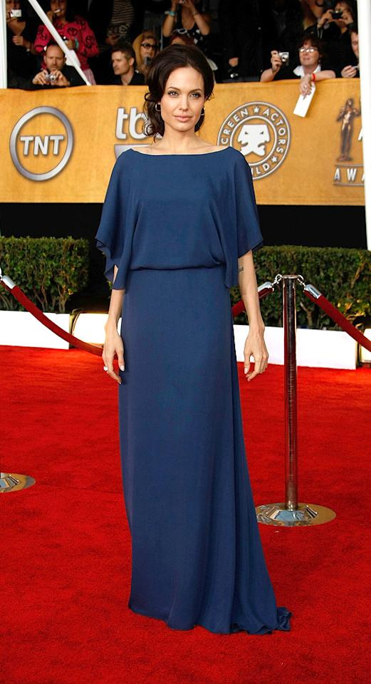 4. 15th Annual Screen Actors Guild Awards (2009)   Angelina took a major fashion risk (that paid off) when she opted to wear this Max Azria dress -- which featured an elasticized waistband -- backwards, along with a loose updo, to the 15th Annual SAGs.