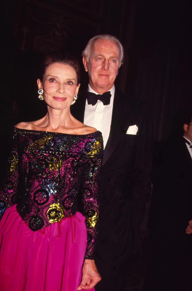 <p>Hepburn and Givenchy attend the eighth Annual Night of Stars Fashion Festival at the Waldorf Astoria Hotel in New York in 1991. (Photo: Rose Hartman/Getty Images) </p>