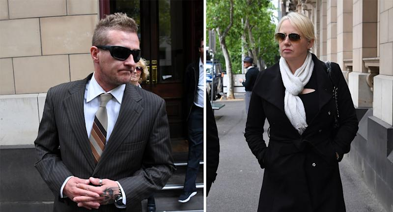 Dale Ewins and Zita Sukys both wearing sunglasses outside Melbourne Supreme court on Wednesday.