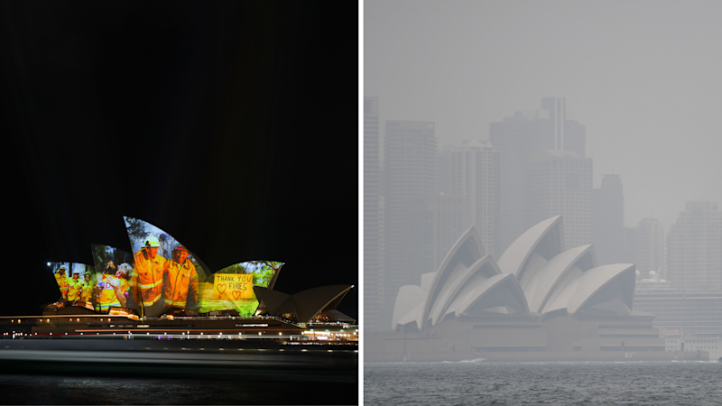 Right: The Sydney Opera House choked by bushfire smoke. (Source: AAP)