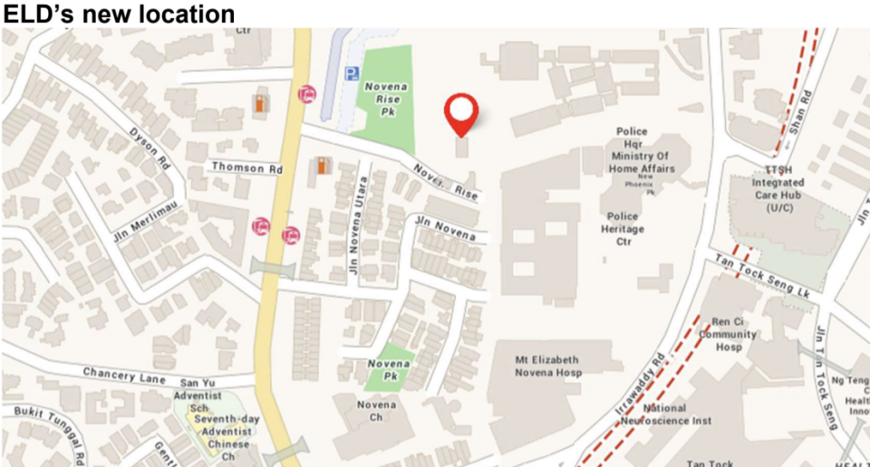 The Elections Department will move to Novena Rise on 4 January 2021. (MAP: ELD)
