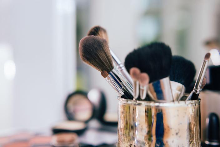"""<p>According to <em>Good Housekeeping</em>, you can use a variety of products to <a href=""""https://www.goodhousekeeping.com/beauty/makeup/g2822/how-to-clean-makeup-brushes/"""" rel=""""nofollow noopener"""" target=""""_blank"""" data-ylk=""""slk:keep your makeup brushes clean"""" class=""""link rapid-noclick-resp"""">keep your makeup brushes clean</a>, including baby shampoo, Ivory soap, Dawn dish soap, makeup brush cleansers, and textured cleansing mats. </p><p>To clean your brush, first rinse the bristles under water. Then, gently massage in soap, making sure you saturate the entire brush. Finally, rinse the brush until the water runs clean. </p><p>__________________________________________________________</p><p><a href=""""https://subscribe.hearstmags.com/subscribe/womansday/253396?source=wdy_edit_article"""" rel=""""nofollow noopener"""" target=""""_blank"""" data-ylk=""""slk:Subscribe to Woman's Day"""" class=""""link rapid-noclick-resp"""">Subscribe to Woman's Day</a> today and get <strong>73% off your first 12 issues</strong>. And while you're at it, <a href=""""https://subscribe.hearstmags.com/circulation/shared/email/newsletters/signup/wdy-su01.html"""" rel=""""nofollow noopener"""" target=""""_blank"""" data-ylk=""""slk:sign up for our FREE newsletter"""" class=""""link rapid-noclick-resp"""">sign up for our FREE newsletter</a> for even more of the Woman's Day content you want.</p>"""