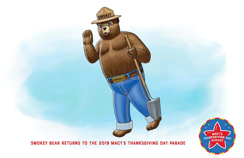 Smokey Bear returns to the 2019 Macy's Thanksgiving Day Parade