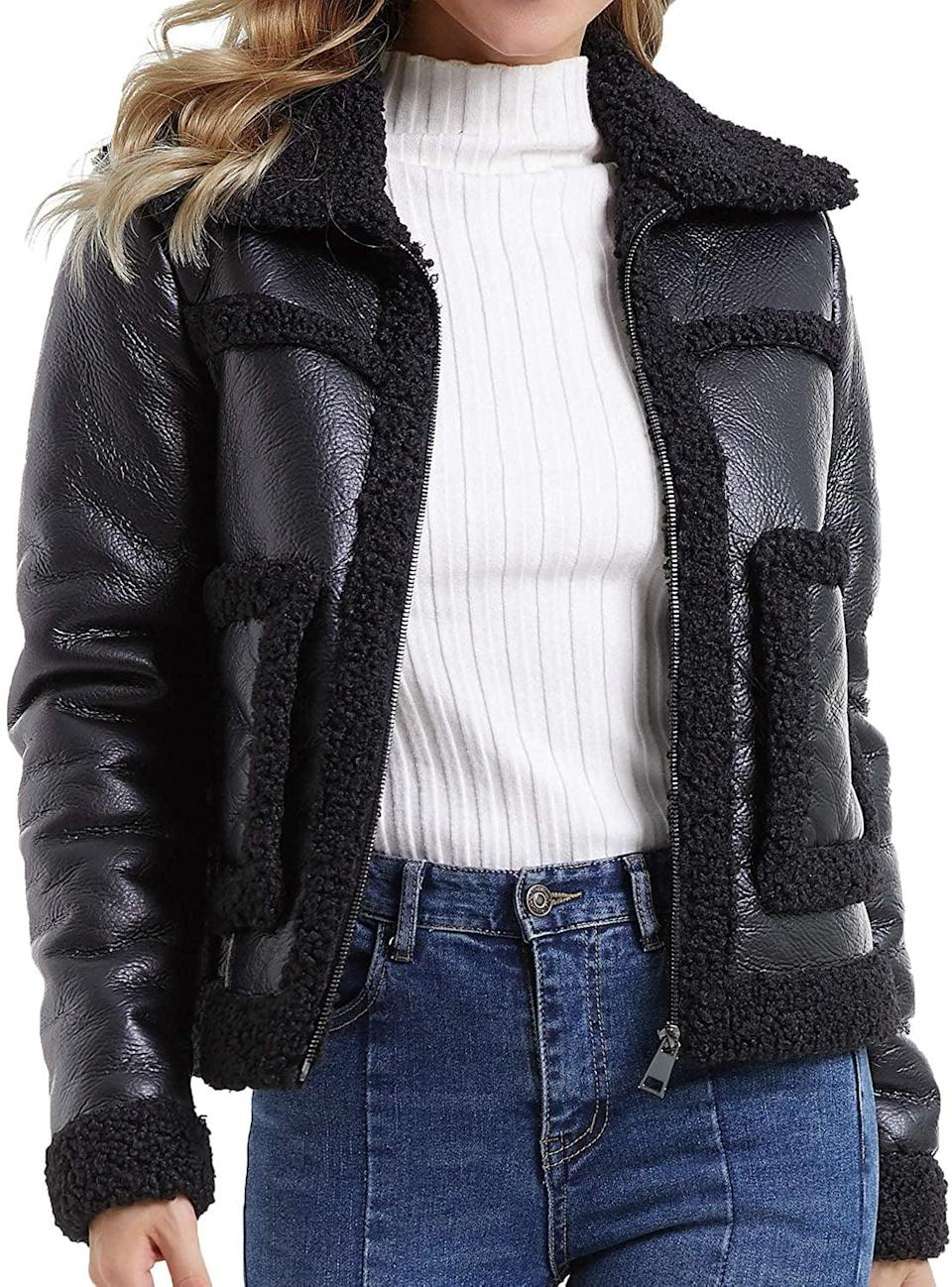 <p>This <span>Diashiny Faux Leather Jacket</span> ($37) will add a pep in your step.</p>