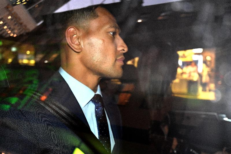 Australia's full-back Israel Folau is leaving after a code of conduct hearing in Sydney last month, after which his contract was terminated