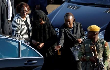Grace Mugabe, leaves after arrivng with the body of her husband, former Zimbabwean President Robert Mugabe in Harare