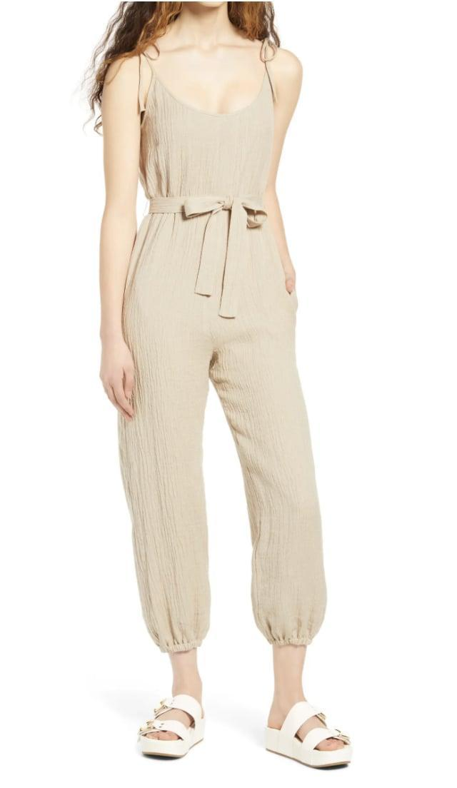 <p>Look casual and effortless for a beach day in this <span>WAYF Spector Tie Strap Cotton &amp; Linen Jumpsuit</span> ($89).</p>