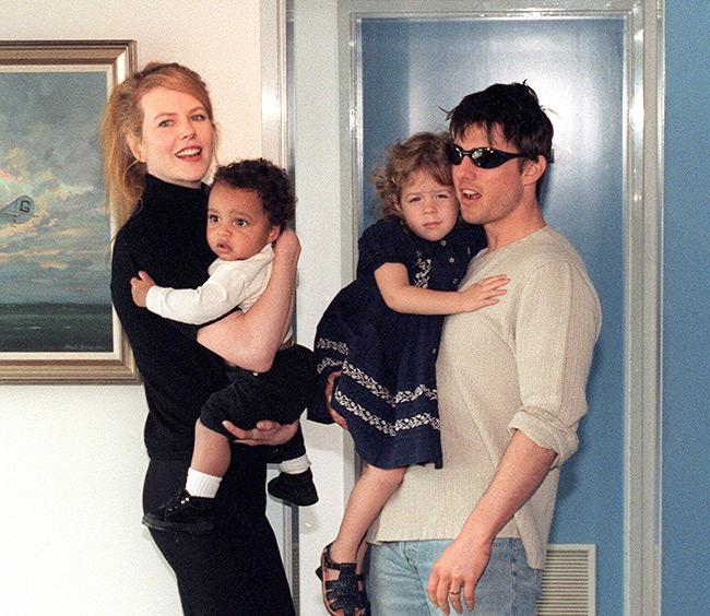 Nicole Kidman and Tom Cruise with their adopted children, Isabella and Connor