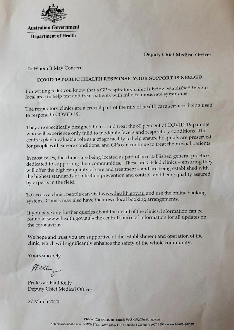 Pictured is an official Department of Health letter sent to residents about a coronavirus testing clinic.