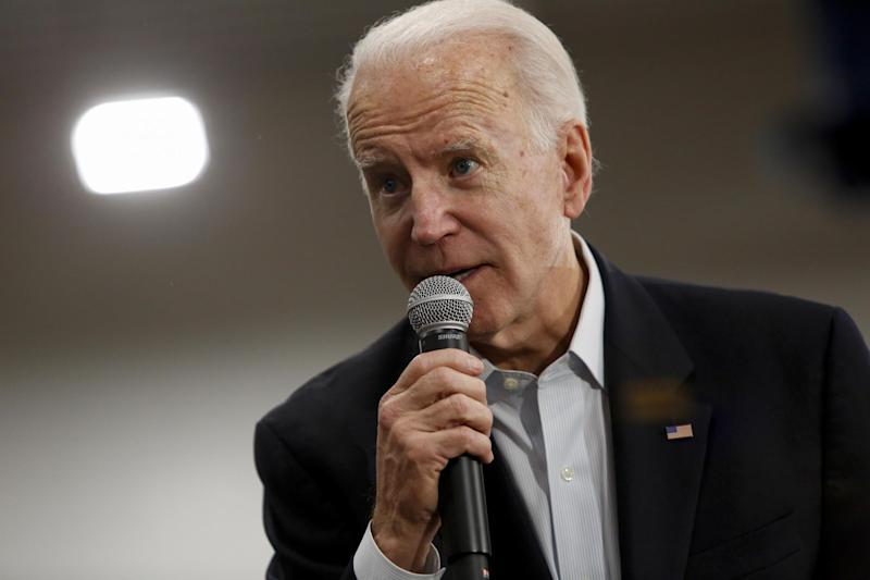 DES MOINES, IA - FEBRUARY 02: Democratic presidential candidate former Vice President Joe Biden speaks during a campaign event at Hiatt Middle School on February 2, 2020 in Des Moines, Iowa. Tomorrow, Iowa voters will go to their local precincts to caucus for a one of several presidential candidates running for U.S. President. (Photo by Joshua Lott/Getty Images): Getty