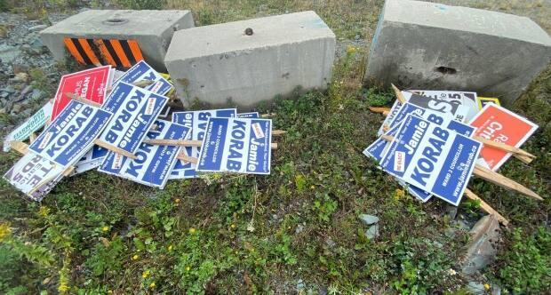 St. John's Ward 3 candidate Jamie Korab found this collection of election signs dumped near the Team Gushue Highway this week. (Jamie Korab/Twitter - image credit)