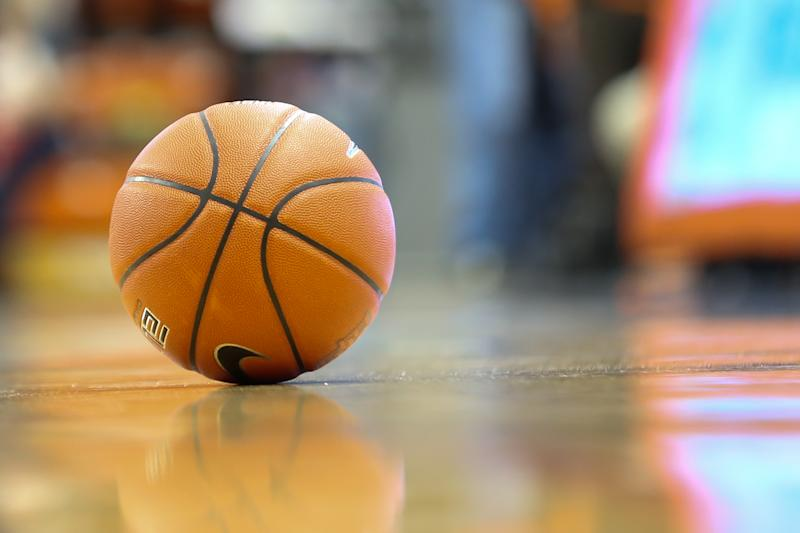 BOWLING GREEN, OH - JANUARY 11: A general view of the game ball resting on the court at the end of the game is seen during a regular season Mid-American Conference game between the Akron Zips and the Bowling Green Falcons on January 11, 2020 at the Stroh Center in Bowling Green, Ohio. (Photo by Scott W. Grau/Icon Sportswire via Getty Images)