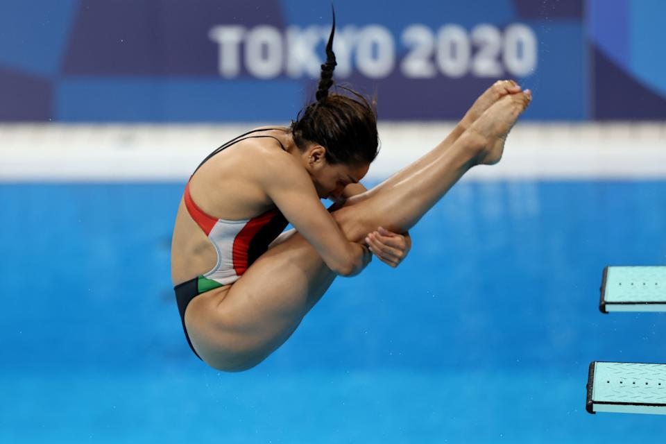 TOKYO, JAPAN - JULY 30: Arantxa Chavez Munoz of Team Mexico competes during the Women's 3m Springboard Preliminary round on day seven of the Tokyo 2020 Olympic Games at Tokyo Aquatics Centre on July 30, 2021 in Tokyo, Japan. (Photo by Tom Pennington/Getty Images)