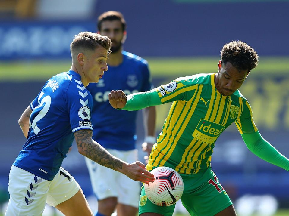Lucas Digne of Everton challenges West Brom's Matheus Pereira for the ball (Getty Images)