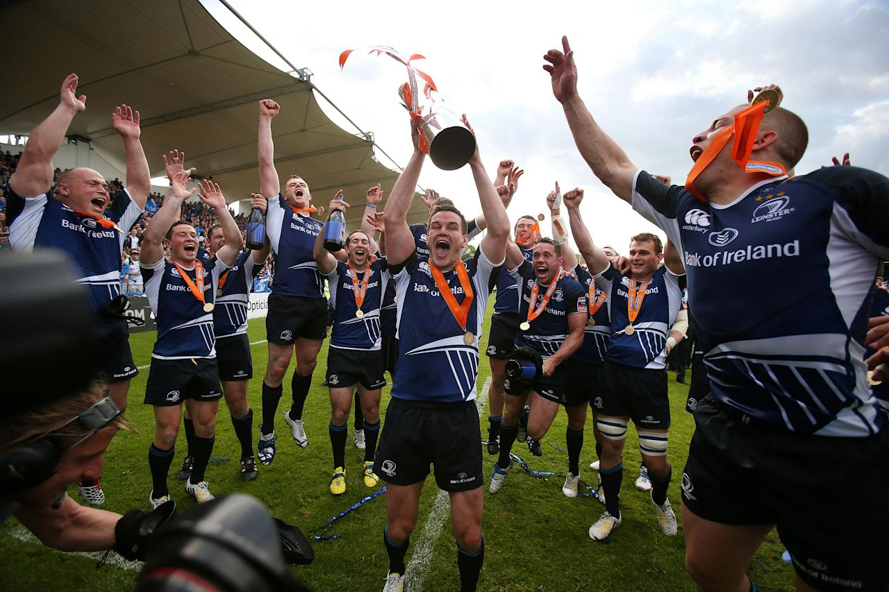 Leinster's Jonny Sexton lifts the trophy as he celebrates with team mates during the RaboDirect PRO12 Final at the RDS, Dublin, Ireland.