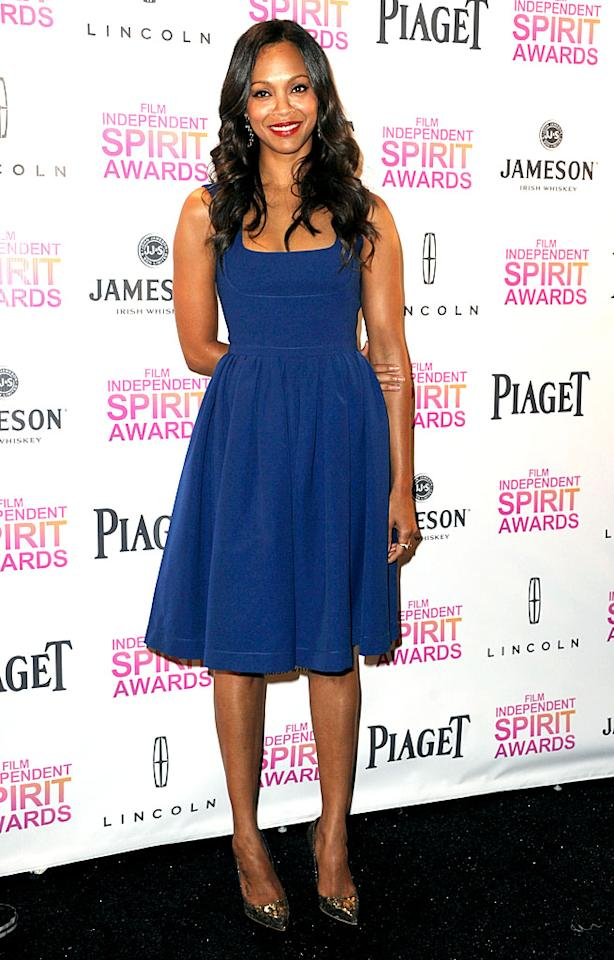 HOLLYWOOD, CA - NOVEMBER 27:  Actress Zoe Saldana attends the 2013 Film Independent Spirit Awards Nominations Press Conference at the W Hollywood on November 27, 2012 in Hollywood, California.  (Photo by Kevin Winter/Getty Images)