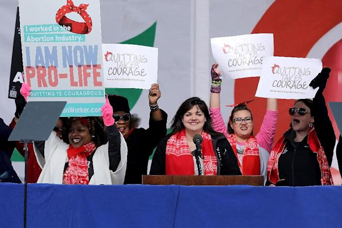 """""""Unplanned"""" is based on a book by Abby Johnson, a former director of an abortion clinic who says she had a """"spiritual awakening"""" after assisting with an abortion -- she is pictured here at the 2017 """"March for Life"""" rally in Washington (AFP Photo/CHIP SOMODEVILLA)"""