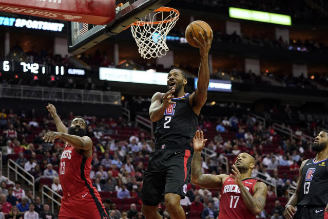 Kawhi Leonard and the Clippers found little resistance against a smaller Rockets lineup. (AP Photo/David J. Phillip)