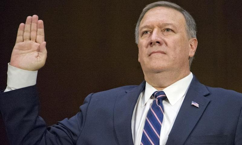 Mike Pompeo is sworn-in to testify before the US Senate intelligence committee, in January.
