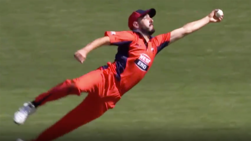 South Australia's Cameron Valente, pictured taking the catch that dismissed Victoria's Peter Handscombe.