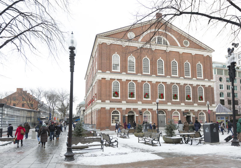 BOSTON, MA - DECEMBER 30: Boston's Faneuil Hall is pictured on Dec. 30, 2017. Faneuil Hall will close to the public for a renovation project, with plans to reopen in spring 2018. Heating, ventilation, air conditioning and fire alarm upgrades are all planned, as are a new handicap chair lift for the Great Hall stage and an elevator replacement. The last major renovation was from 1990 to 1991, according to the city. (Photo by Dina Rudick/The Boston Globe via Getty Images)