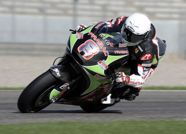 Pramac Racing Team's Hector Barbera of Spain rides his 1000cc motorcycle during a Moto GP practice session at Ricardo Tormo racetrack in Cheste, near Valencia, on November 8, 2011. AFP PHOTO / JOSE JORDAN (Photo credit should read JOSE JORDAN/AFP/Getty Images)