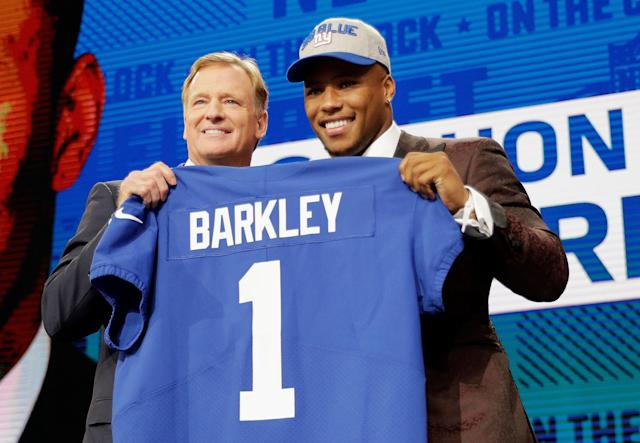 Saquon Barkley knows he can't do much to sway Giants fans who wanted the team to take Sam Darnold. (AP)