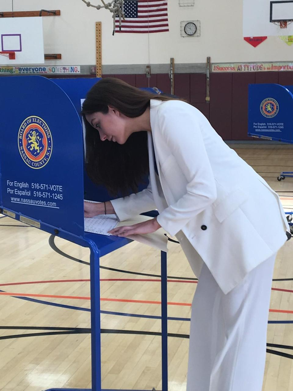 "<p>""Too many people are begrudgingly voting for Hillary. For a lot of people, voting for [Hillary] is uninspiring and more about ""anyone but Trump,"""" Alyssa Anchelowitz tells Yahoo Style. ""How is our first female Presidential candidate uninspiring? I wore the white pantsuit to show my support and hopefully get others excited about this hugely historical, inspirational moment in politics."" (Photo: Courtesy of Alyssa Anchelowitz) </p>"