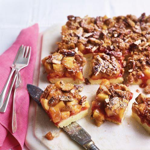 """<p>A new take on a favourite pudding</p><p><strong>Recipe: <a href=""""https://www.goodhousekeeping.com/uk/food/recipes/a535179/apple-crumble-bars/"""" rel=""""nofollow noopener"""" target=""""_blank"""" data-ylk=""""slk:Apple crumble bars"""" class=""""link rapid-noclick-resp"""">Apple crumble bars</a></strong></p>"""