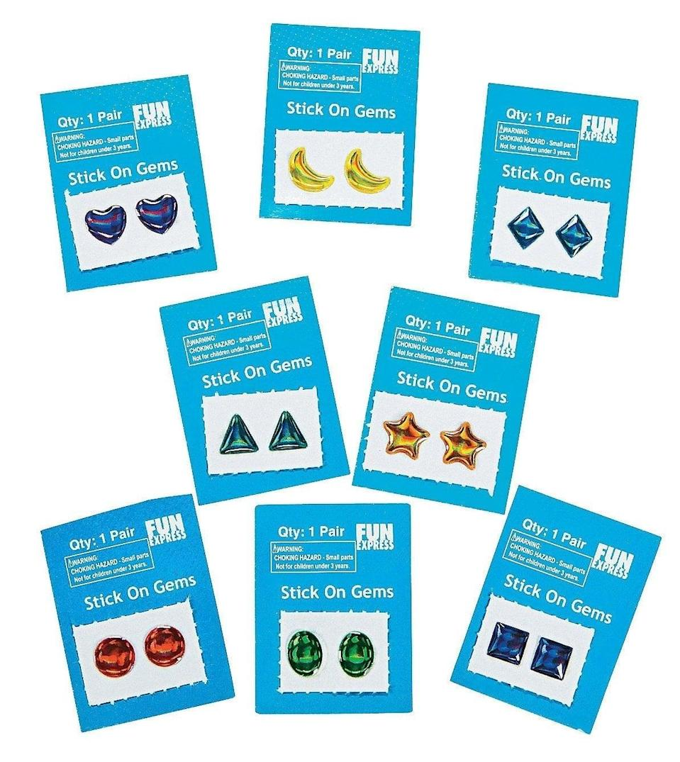 <p><span>Stick-On Earrings</span> ($7 for 72-day pack) are a '90s beauty must have. </p>