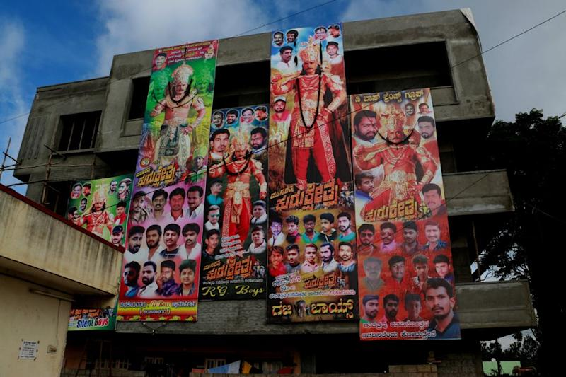 Banners put up by various Darshan Fans Associations for the release of his film Kurukshetra.